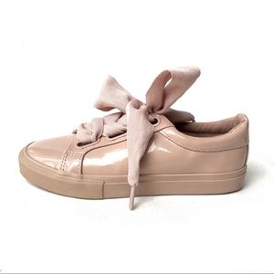 SPORTSGIRL Dusty Pink Patent Lace Up Sneakers